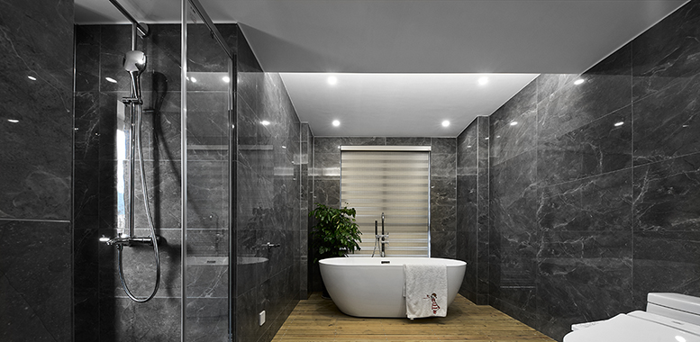 卫生间设计中的玻璃隔断怎么做?杭州别墅装修